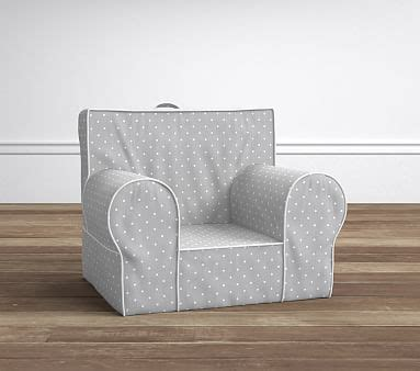 ruffle anywhere chair slipcover only gray pin dot anywhere chair slipcover only pottery barn