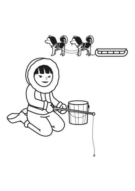 kostenlose malvorlage winter eskimo ausmalen zum ausmalen