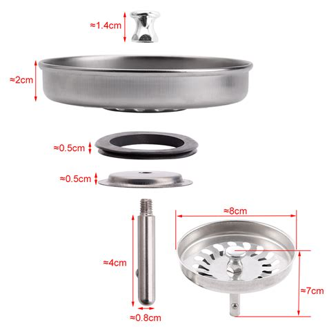 2x 8cm Replacement Kitchen Sink Drain Strainer Waste Plug