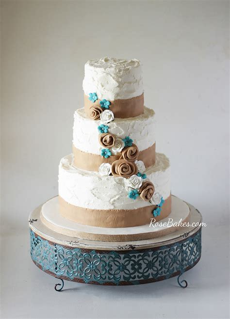 Rustic Burlap And Turquoise Flowers Wedding Cake Rose Bakes