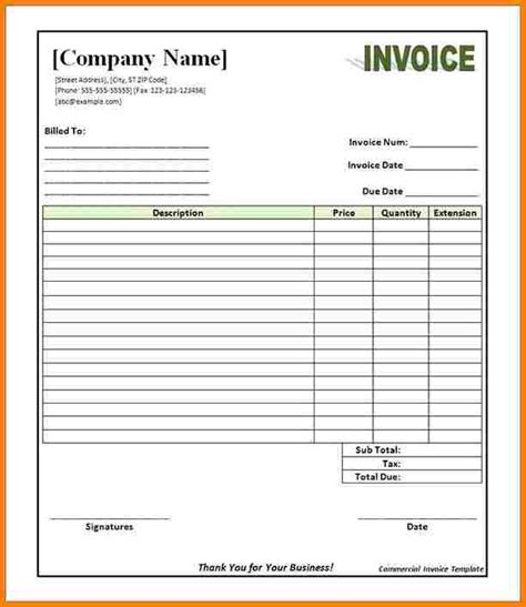 commercial invoice template   invoice letter