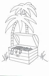 Pirate Treasure Chest Island Coloring Palm Trees Clip Clipartqueen sketch template