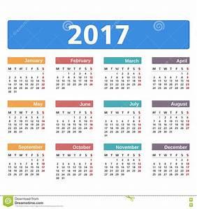 Calendário 2017 Ilustração do Vetor - Imagem: 72174712 ...