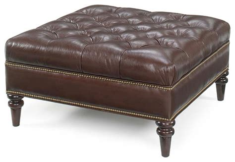 Oxford Tufted Square Leather Ottoman Traditional