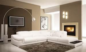 Deco in paris canape d angle en cuir blanc grissom for Nettoyage tapis avec canape tv