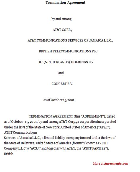 termination of employment contract template termination agreement sle termination agreement