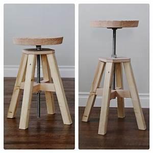 Ana White Adjustable Height Wood and Metal Stool - DIY