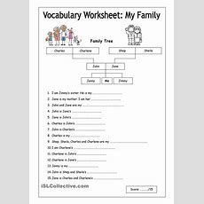 Vocabulary Worksheet  My Family (easy)  English 5th Grade  Pinterest  Vocabulary Worksheets