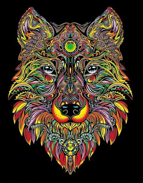 colour  drawing  velvet embossed borders wolf