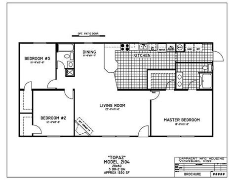 3 Bedroom Wide Floor Plans by Wide Mobile Home Floor Plans Bedroom Mobile Home