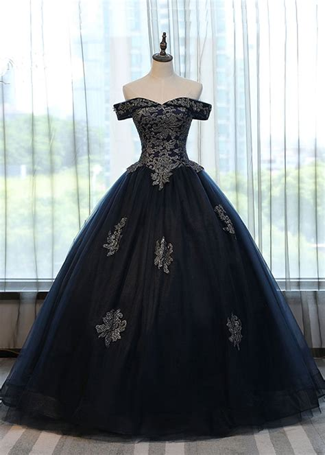 navy blue tulle lace  long formal evening dress