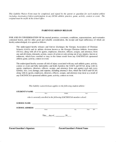 Participation Waiver Template by 10 Sle Liability Waiver Forms Word Pdf Sle