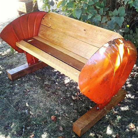 reclaimed wood tractor fender bench   vintage tin mn