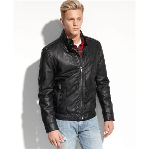 lyst guess coats light weight faux leather moto jacket
