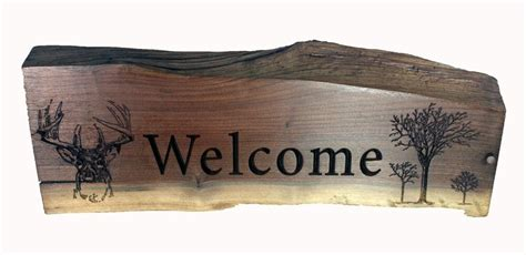 Welcome Carved Solid Walnut Wood Sign Rustic Country