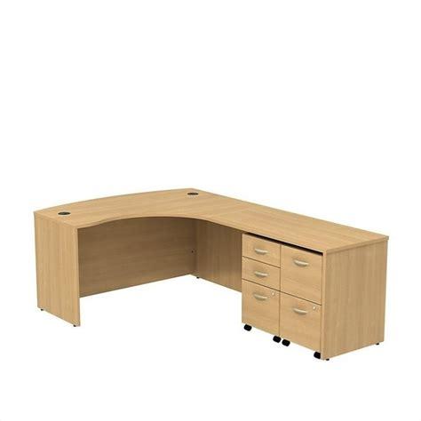 oak l shaped desk bush bbf series c 60 quot right 5 drawer l shaped desk in