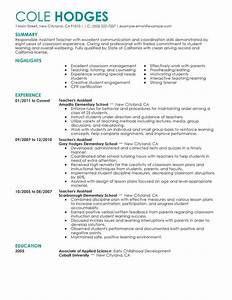 best assistant teacher resume example livecareer With education resume examples