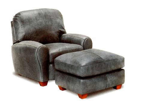 distressed gray leather chair and ottoman from wellington