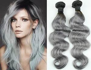 3bundles Malaysian gray hu man hair weaving ombre white ...