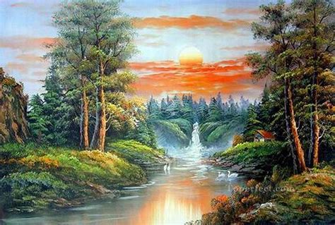 Vivid Freehand 18 Bob Ross Landscape Painting In Oil For Sale