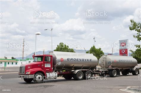 Phillips 66 Gasoline And Service Station With Semi Tanker