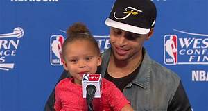 WATCH Stephen Currys Daughter Riley Steals Postgame