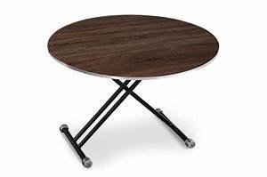 Table Basse Reglable Hauteur : table basse ronde r glable en hauteur bois fonc bargny ~ Carolinahurricanesstore.com Idées de Décoration