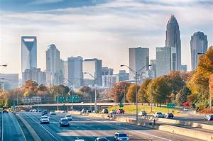 Charlotte North Carolina Skyline During Autumn Season At