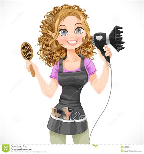 Cute Girl Hairdresser With Hair Dryer And Hairbrush Stock ...