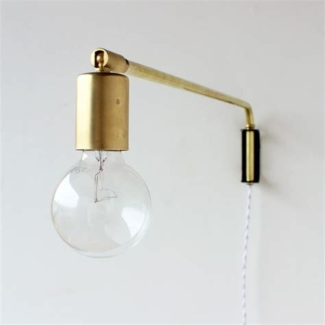 brass swing arm wall lamp  wood wall mount design
