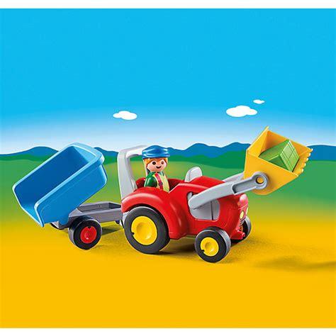 playmobil auto mit anhänger playmobil 174 6964 1 2 3 traktor mit anh 228 nger playmobil 1 2 3 mytoys