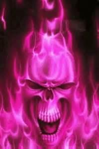 Pink Fire Skull