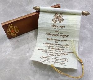scroll wedding invitation cards  chennai