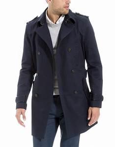 Trench Coat Homme Long : trench long homme bleu marine mode robe et v tement ~ Nature-et-papiers.com Idées de Décoration