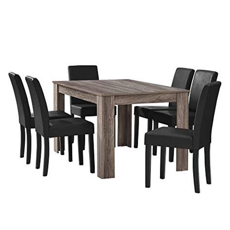 esstisch mit 6 stühlen en casa esstisch eiche antik mit 6 st 252 hlen schwarz kunstleder gepolstert 140 215 90 essgruppe