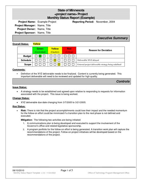 project status report examples project
