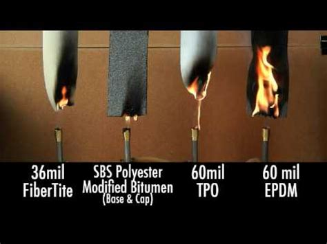combustibility test fibertite roofing membrane youtube
