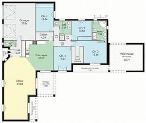 villa de plain pied detail du plan de villa de plain With faire son plan maison 0 maison de plain pied 1 detail du plan de maison de plain