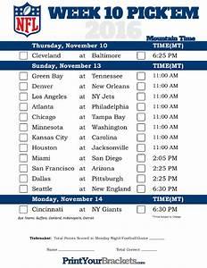Printable Weekly Football Pool Sheet Mountain Time Week 10 Nfl Schedule 2016 Printable