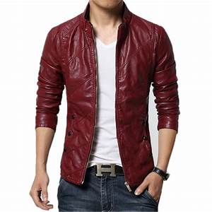 2016 Fashion Brand Men's Red Leather Jackets Male Brown ...