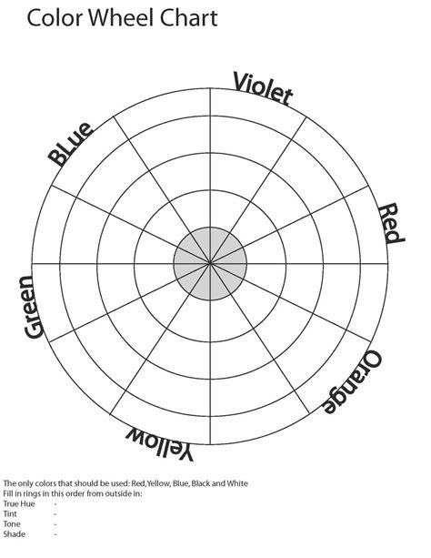 Art Color Wheel Chart Blank Agcrewall
