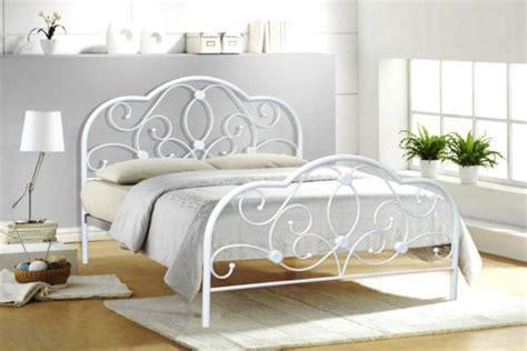504 white metal bed frame 4ft6 metal bed white model bedroom furniture
