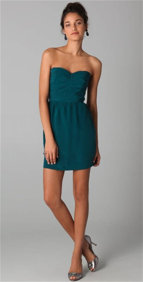 rebecca taylor ruched strapless dress  blue lyst