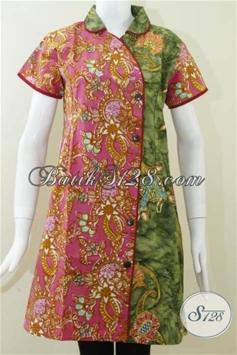 trend batik dress kombinasi warna hijau  pink drc