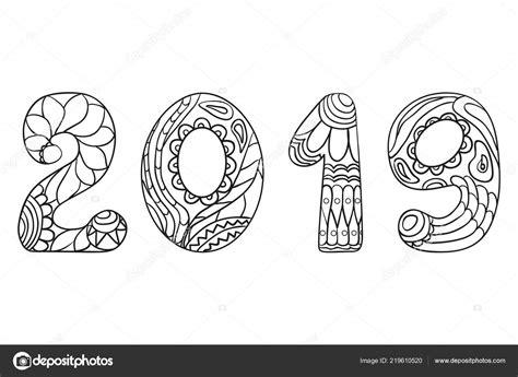 Feliz Año Nuevo 2019 Mano Dibuja Los Números Con Patrones