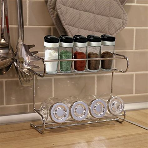 2tier Spice Rack, Ezoware Silver Kitchen Countertop 2