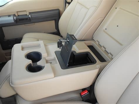 ford  super duty fold  arm rest console vault