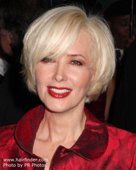 janine turners hair cut   blonde chin length bob