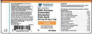 Pnv Ferrous Fumarate Docusate Folic Acid  Virtus