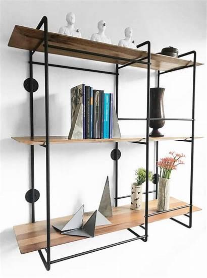Floating Shelf Unit Stainless Steel Hardwood Wall